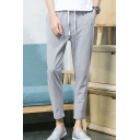 Guys New Fashion Solid Color Drawstring Waist Cotton and Linen Summer Chino Trousers