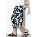 Chinese Style Allover Crane Pattern Drawstring Waist Loose Fit Cropped Bloomers Harem Pants for Men