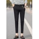 Fashion Basic Solid Color Chain Embellished Slim Fitted Capri Suit Pants Dress Pants for Men