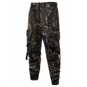 Summer Mens Fashion Camouflage Printed Drawstring Waist Buckle Ribbon Pocket Casual Cargo Pants