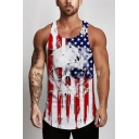New Trendy Skull Flag Pattern Sleeveless Guys Casual Leisure Muscle Tank Top
