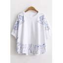 Girls Lovely Cat Fish Pattern Round Neck Half Sleeve Loose Fit Cotton T-Shirt