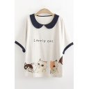 Cat Letter LOVELY CAT Printed Doll Collar Half Sleeve Loose Fit T-Shirt