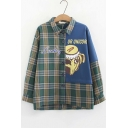 Cartoon Dog Plaid Letter LUCKY Printed Colorblocked Long Sleeve Green Casual Shirt