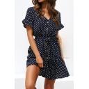 Sexy Fashion Polka-Dot Printed V-Neck Short Sleeve Button Front Tied Waist Mini A-Line Chiffon Dress