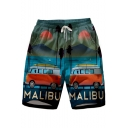 Mens Elastic Drawstring Waist Retro 3D Landscape Letter Printed Casual Swim Trunks with Pockets