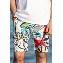 Funny Figure Printed Drawstring Waist Loose Cotton Beach Holiday Swim Shorts for Men