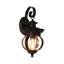 Black Lantern Sconce Light Single Light Antique Metal Wall Light Fixture for Living Room