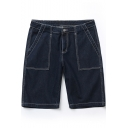 Summer New Stylish Contrast Stitching Casual Loose Dark Blue Denim Shorts