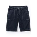 Summer New Stylish Contrast Stitching Casual Loose Dark Blue Denim Shorts