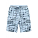 Guys Summer Trendy Plaid Pattern Drawstring Waist Cotton Leisure Beach Shorts