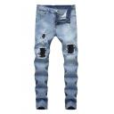 Men's Street Style Knee Cut Distressed Straight Fit Light Blue Biker Jeans