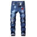 Men's Hot Fashion Rose Floral Embroidery Stretch Slim Fit Blue Ripped Jeans