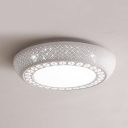Contemporary Round Flush Mount Light Acrylic LED Ceiling Light Fixture in White for Living Room