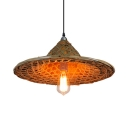 Asian Bamboo Hat Pendant Lamp Height Adjustable Single Light Suspended Light with 39
