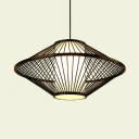 Black/Coffee Saucer Pendant Lighting One Light Rustic Rattan Hanging Light for Living Room