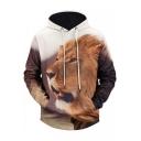 New Stylish 3D Lion Pattern Long Sleeve Unisex Leisure Drawstring Hoodie
