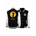 New Stylish Comic Character Printed Stand Collar Long Sleeve Black Baseball Jacket
