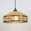 Beige Barn Shade Hanging Lamp in Rustic Style Straw Rope Single Pendant Light for Bar Restaurant