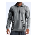Mens Simple Contrast Striped Long Sleeve Loose Casual Drawstring Hoodie