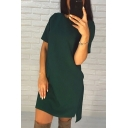 Summer Simple Plain Round Neck Short Sleeve High Low Hem Mini T-Shirt Dress