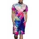 Fashion Colorful Ombre Geometric Printed Short Sleeve Summer Slim Fit One Piece Rompers