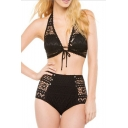 Sexy Black Halter Hollow Out Tied Front Button Patched High Waist Bottom Bikini Swimwear
