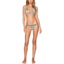 Holiday Retro Tribal Printed Tied Waist Halter Sexy Bikini Swimwear