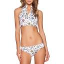New Trendy Floral Printed Zipper Front Sleeveless White Bikini Set