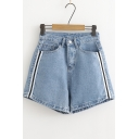 Women's Side Stripes Printed Loose High Waist Wide-Leg Blue Denim Shorts