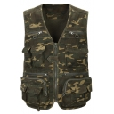 Military Style Classic Camo Printed V-Neck Zip Closure Multi-Pocket Outdoor Army Green PhotoGraphy Vest