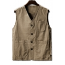 Basic Simple Plain V-Neck Sleeveless Button Closure Cotton Vest for Men