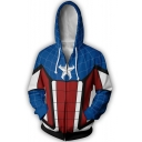 Long Sleeve Zip Up Colorblock Sport Loose Fit Blue and Red Hoodie