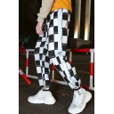 Mens Hip Hop Style Fashion Letter Check Printed Reflecting Tape Patched Drawstring-Waist Loose Casual Track Pants