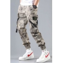 Mens Cool Fashion Camouflage Print Drawstring Waist Buckle Strap Side Pocket Detail Casual Cargo Pants