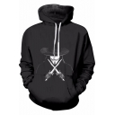 V for Vendetta Figure Pattern Relaxed Fit Black Drawstring Hoodie