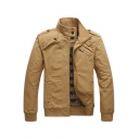 Hot Sale Plain Band Collar Zip Up Welt Pockets Epaulets Long Sleeve Cotton Jacket for Mens