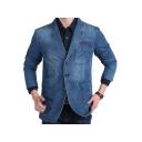 Mens Trendy Notched Lapel Collar Long Sleeve Buttons Down Plain Denim Blazer Coat