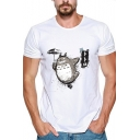 New Stylish Summer Cute Comic Totoro Printed Mens Basic Short Sleeve White T-Shirt