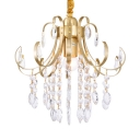Modern Height Adjustable Gold/Black Chandelier Light with 19.5
