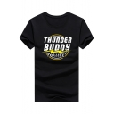Summer New Trendy Letter THUNDER BUDDY Flash Print Short Sleeve Graphic Tee