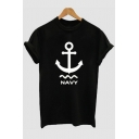 Simple Anchor Letter NAVY Print Basic Black Graphic Tee