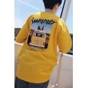 Cool Letter SUMMER Printed Half-Sleeved Mens Oversized T-Shirt