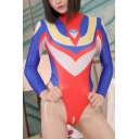 Ultraman Cosplay Costume Mock Neck Long Sleeve Blue Slim Bodysuit
