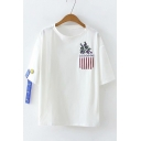 Simple Floral Embroidery Round Neck Ribbon Short Sleeve Loose Relaxed T-Shirt