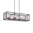 Rustic Rectangle Island Light Fixtures Metal 8 Lights Black Island Pendants with Rod for Dining Room