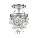 Antique Style Semi Flush Light One-Light Clear Crystal Ceiling Lighting Fixture, 13