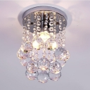 Nickel Round Canopy Flush Mount 1 Light Contemporary Clear Crystal Chandelier for Bedroom