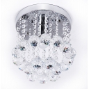 Modern Hanging Ceiling Light Clear Crystal 1 Light Nickel Chandelier for Bedroom
