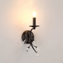 Candle Bedroom Wall Lamp Iron One Light Modern Style Sconce Light in Black with Clear Crystal